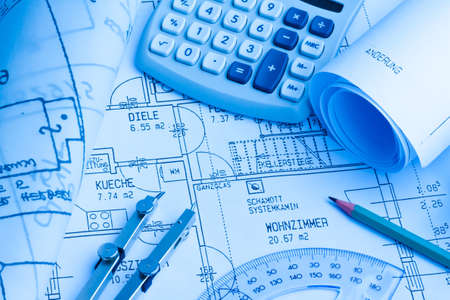 Blueprint for a house. Pæn drawings and an architect. Stock Photo - 8231999