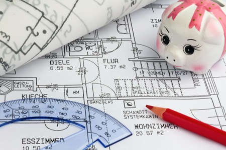 Blueprint for a house. P�n drawings and an architect. Stock Photo - 8231992