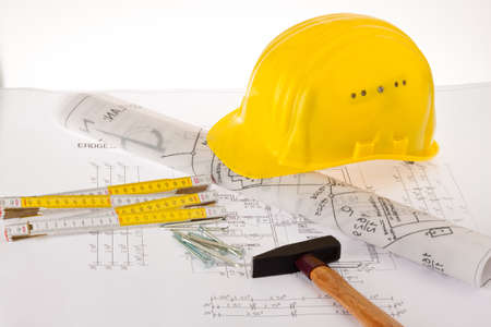 architectural firm: Blueprint for a house. P�n drawings and an architect. Stock Photo