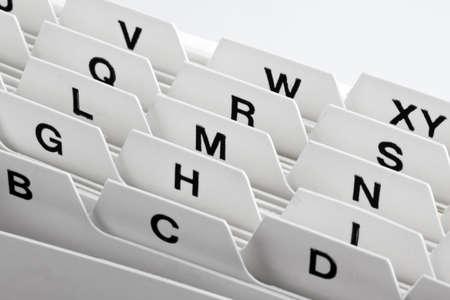directorio telefonico: un cuadro de tarjeta de whiteIndex con orden alfab�tico