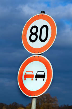 prohibitions: Speed limit with speed 80 on a country road. Road Sign Stock Photo