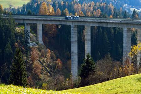 tauern: A high motorway bridge in the Tauern motorway in Austria Stock Photo