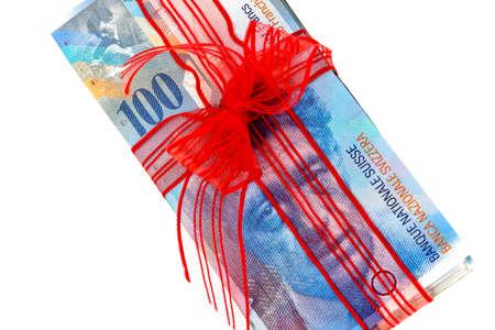 Schweizer Franken isoliert auf weißem Hintergrund Standard-Bild