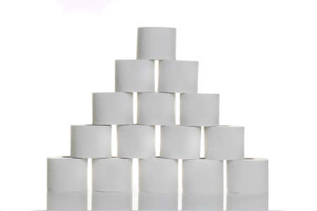 A pyramid of toilet paper against white background Stock Photo - 8362974