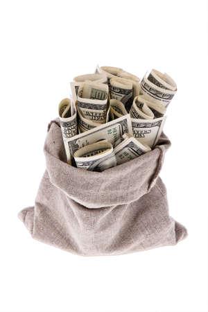 rescheduling: Many dollar bills in a bag. Symbol photo