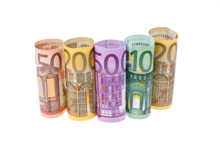 billets euros: diverses notes Euro sur un fond blanc Banque d'images