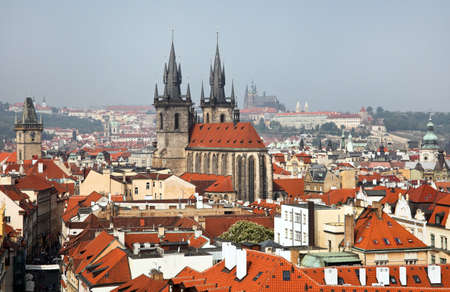 tyn: View from the Powder Tower and Tyn Church Prague Castle in Prague