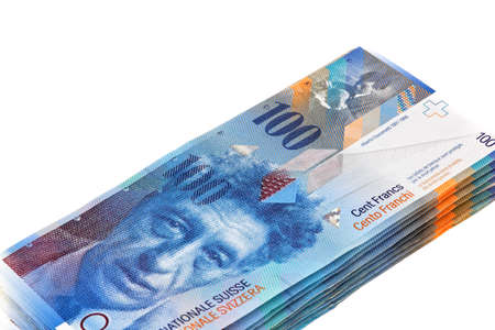 franc: Swiss franc isolated on a white background Stock Photo