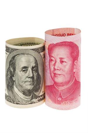 yuan: Chinese currency yuan and U.S. dollars amerkinaische bills