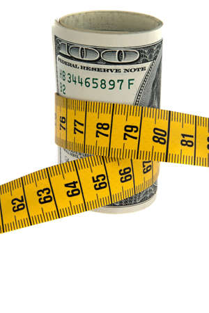 austerity: An icon image saving package with dollar bill and tape measure Stock Photo