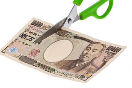 japanese yen: Japanese yen notes. Taxes and charges in Japan Stock Photo