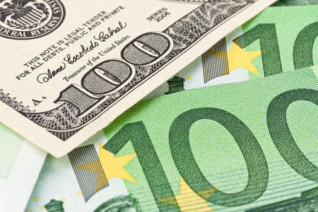 parity: Dollar and Euro notes. Symbol differences Euro Dollar Stock Photo