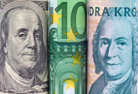 billets euros: Couronnes su�doises, la monnaie de la Su�de. Dollar, billets Banque d'images