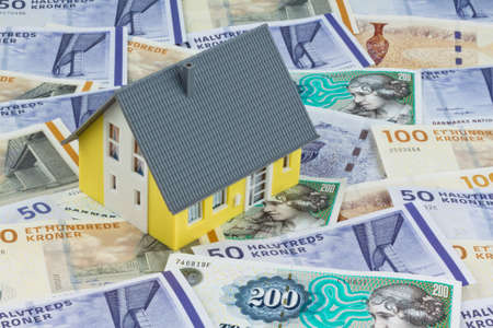 Danish crowns. Currency from Denmark in Europe. Model home. Costs for homes and houses photo