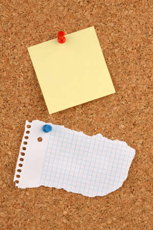 Close-up of a Board of cork with a blank notepad Stock Photo - 8469210