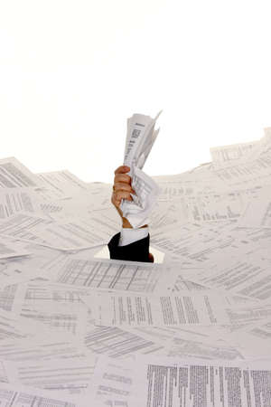 Stress in the office, red tape and paper filing photo