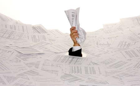 Stress im Büro, Bürokratie und Papier filing