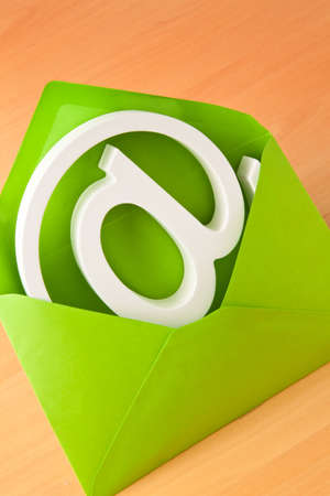 E-mail sign is in a green envelope. Stock Photo - 8644103