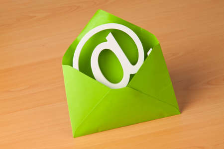 email contact: E-mail sign is in a green envelope.