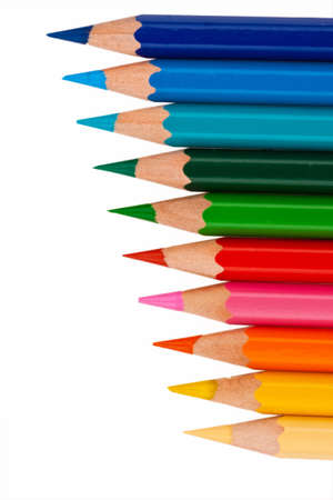 color palette: Many different colored pencils on white background