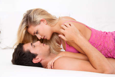 sex couple: Couple in bed with sex and affection. Love and eroticism in the bedroom.