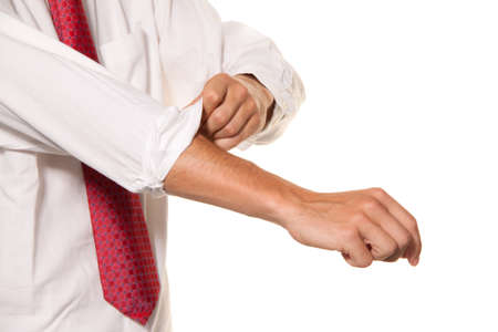 Successful, strong and powerful tackle. Shirt sleeves rolled up. Men's shirt. Stock Photo - 8705626