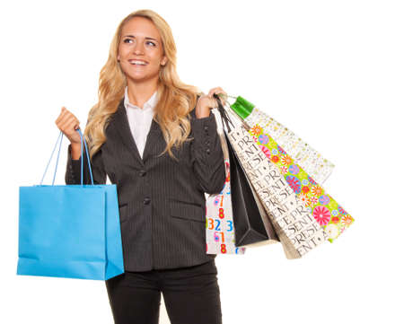 retail therapy: Woman shopping with many shopping bags has joy