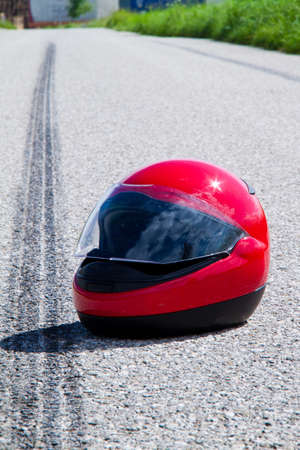 An accident with a motorcycle. Traffic accident and skid marks on road. Representative photo. Stock Photo - 8705718