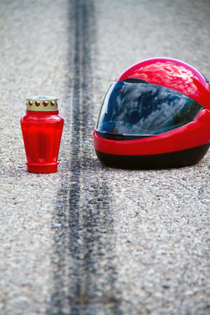 An accident with a motorcycle. Traffic accident and skid marks on road. Representative photo.