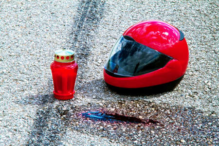 An accident with a motorcycle. Traffic accident and skid marks on road. Representative photo. Stock Photo - 8705722