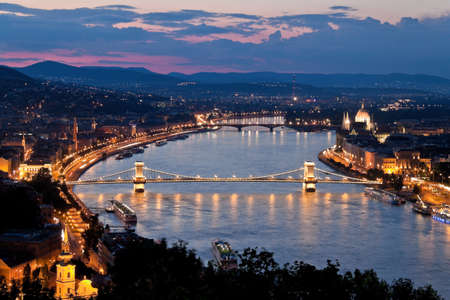 chain bridge: Europe, Hungary, Budapest, Castle Hill and Castle. City View Stock Photo
