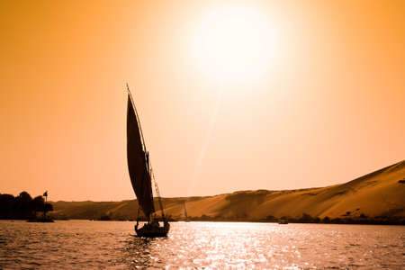 nile: A felucca in Aswan, Egypt Stock Photo