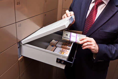 bribery: A locker in a bank vault. Storage of cash and documents.