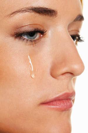 tårar: A sad woman weeps tears. Photo icon fear, violence, depression