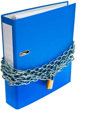 bank records: A file folder with chain and padlock closed. Privacy and data security.