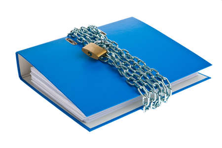 A file folder with chain and padlock closed. Privacy and data security. Stock Photo - 9009066