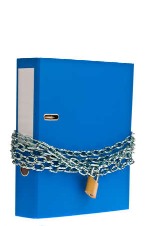 A file folder with chain and padlock closed. Privacy and data security. Stock Photo - 9009074