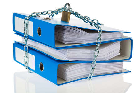 A file folder with chain and padlock closed. Privacy and data security. Stock Photo - 9009073
