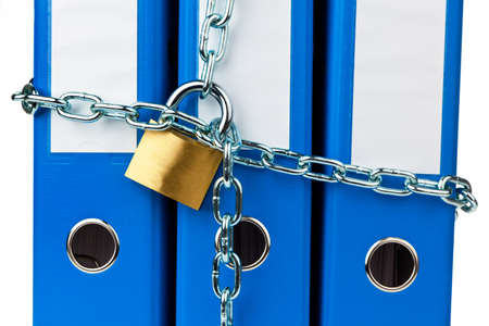 A file folder with chain and padlock closed. Privacy and data security. Stock Photo - 9009076