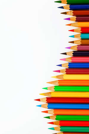 color scale: Many different colored pens. Color pencils isolated on a white background.