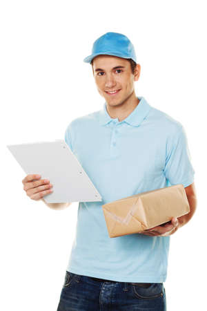order shipping: A messenger delivered by courier parcel. Shipping and logistics. Stock Photo