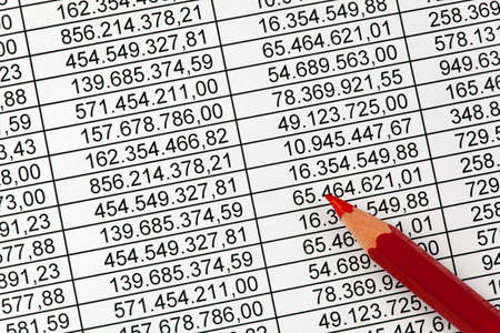 taxes budgeting: Red pencil on a balance sheet with many numbers. Savings in expenditure Stock Photo