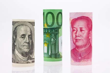 parity: American dollars. Chinese Yuan. Euro money. Several major currencies Stock Photo