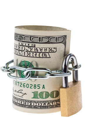 money laundering: Many dollar bills are locked with a lock