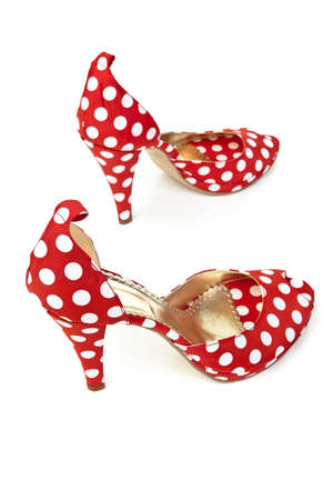 Red Women's Shoes High Heels with white dots Stock Photo - 9009106