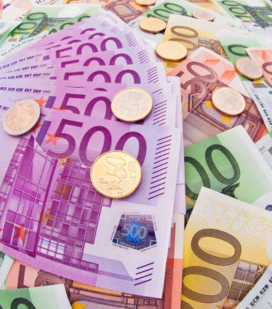 Many Euro banknotes of the European Union. Special perspective photo