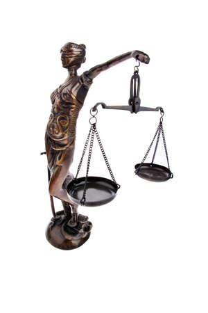 jurisprudencia: Una figura de justicia con escalas. Ley y justicia