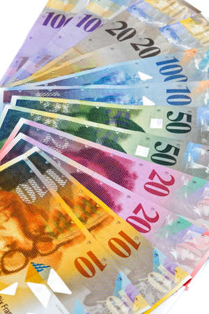 Swiss francs. Money and bank notes in Switzerland photo
