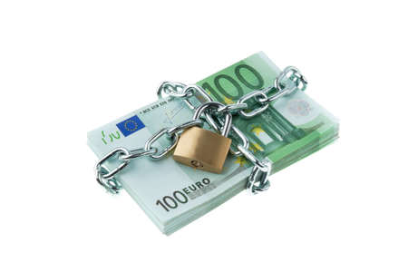 u lock: Euro bank notes with a lock and chain. Money stack for safety and investment. Stock Photo