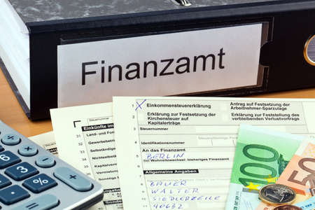required: A German tax return for income tax is required. Stock Photo